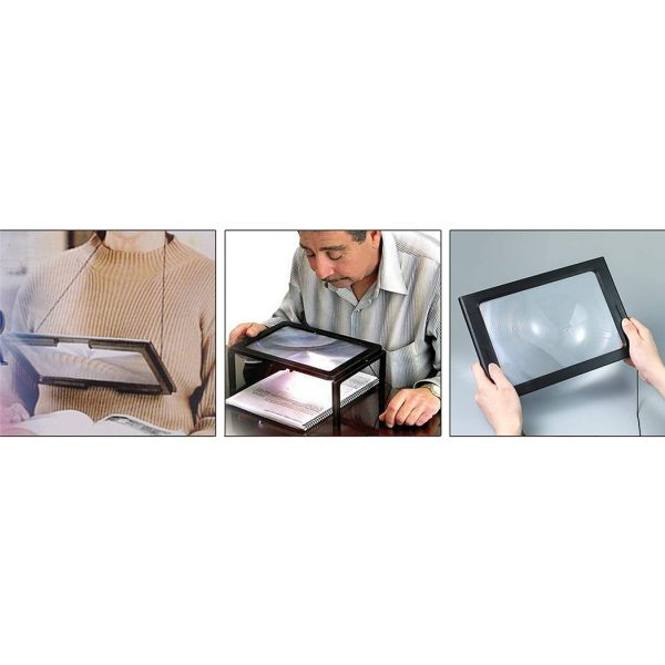 Large Full Page Magnifier with Light and Stand Daily Aids